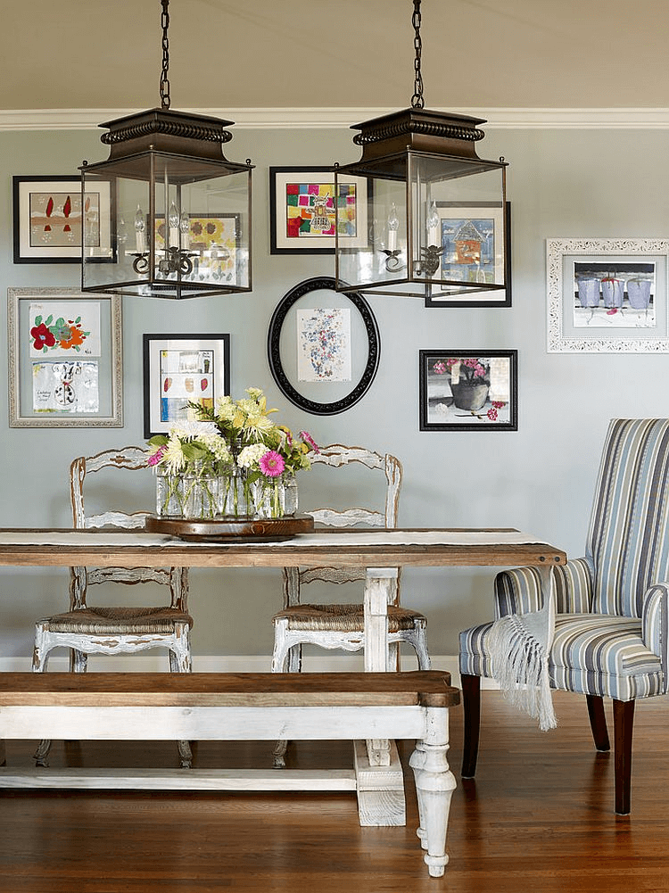 Gallery wall dining room rustic