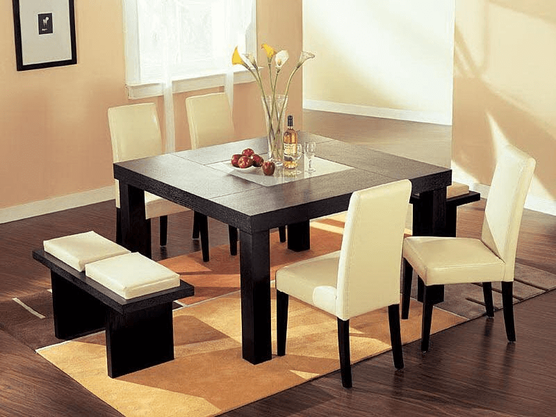 How to decorate a small square dining table