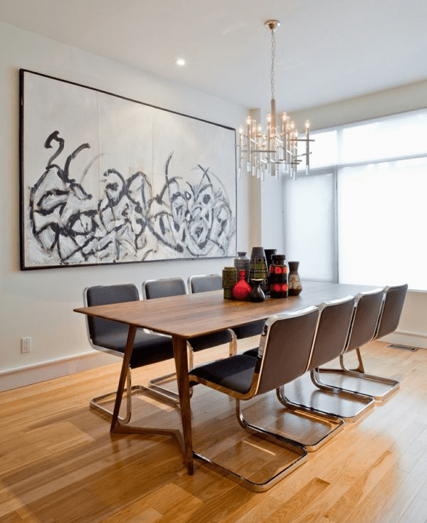 Large contemporary painting decor for dining room