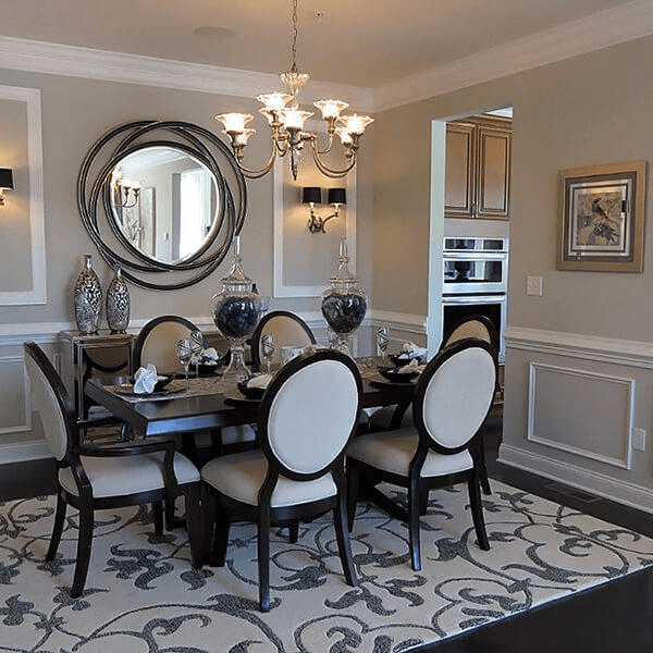 Large round mirror dining room wall