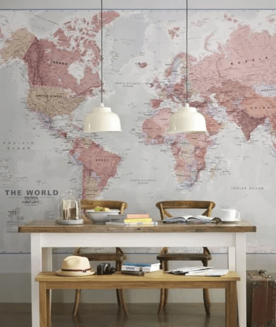 Map wall dining room decor ideas