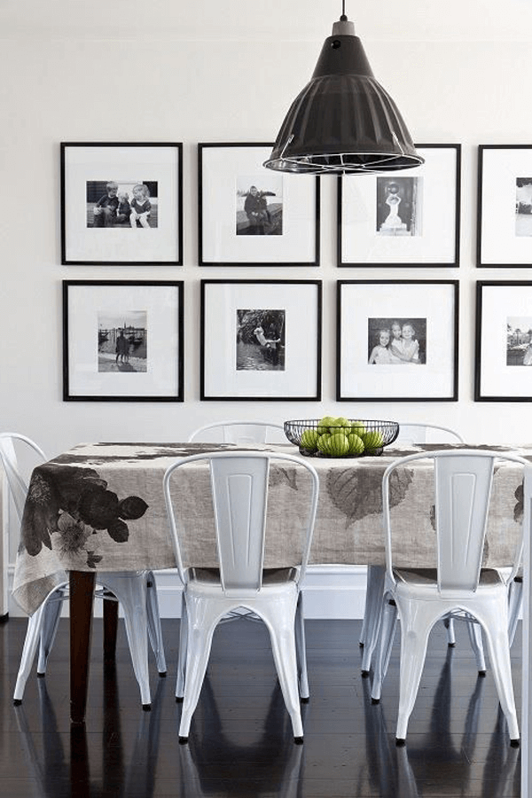 Monochrome Photographs Dining Room Wall Decor Ideas for Contemporary Design