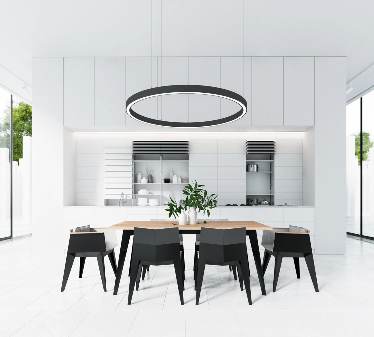Monochrome-themed Kitchen and Dining Room