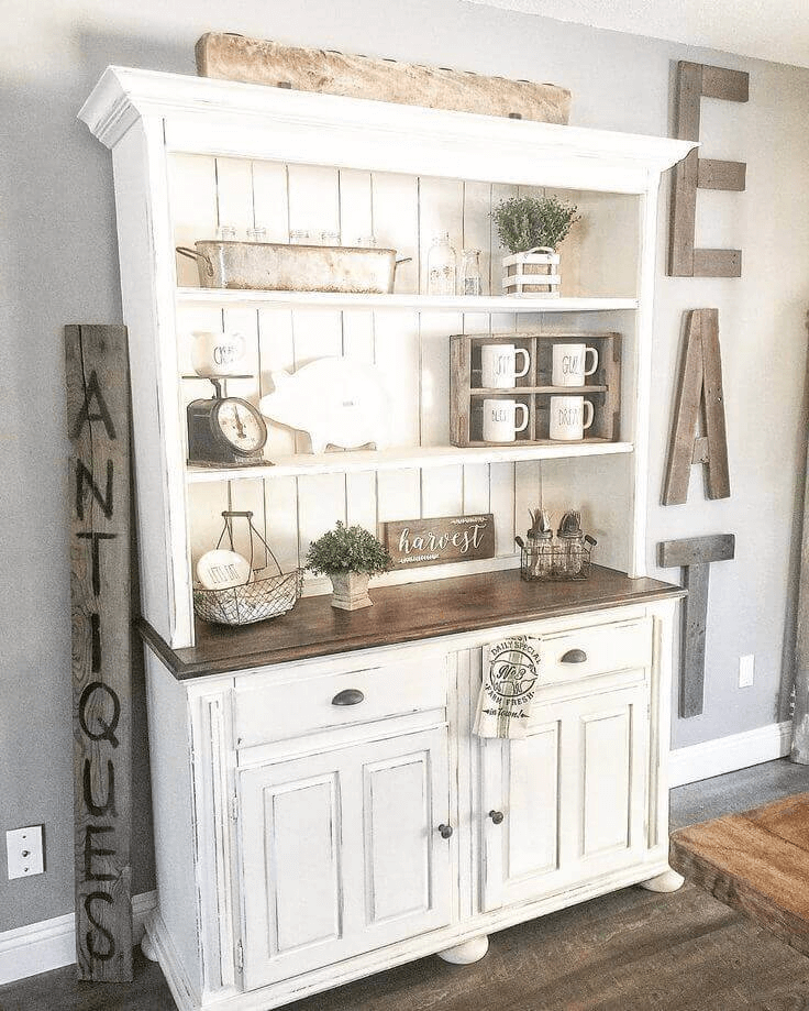 Open cabinet farmhouse for dining room wall decor