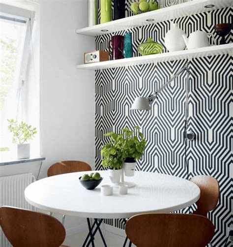Open shelves for small dining room wall decor ideas