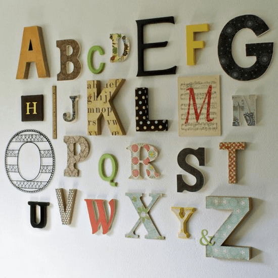 Random Alphabets Wall Decor Ideas