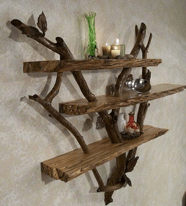 Reclaimed shelves diy wooden art dining room decor