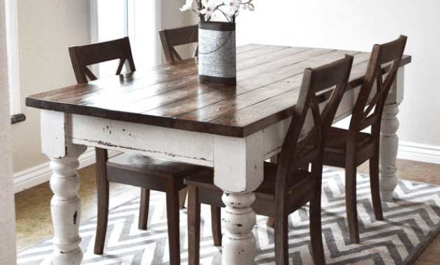 Refinished farmhouse dining table pottery barn keaton diy repaint and decor ideas
