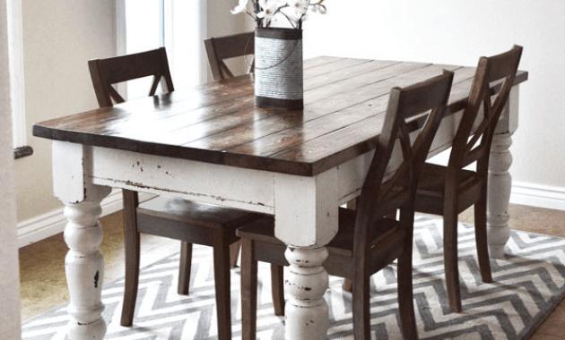 Refinished farmhouse dining table pottery barn keaton diy repaint and decor ideas
