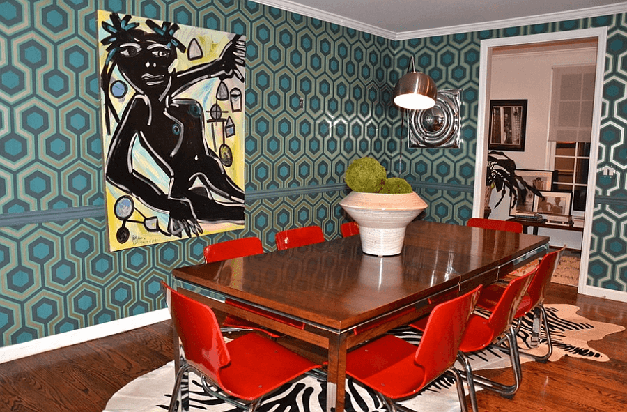 Retro Geometric style dining room wallpaper decor ideas