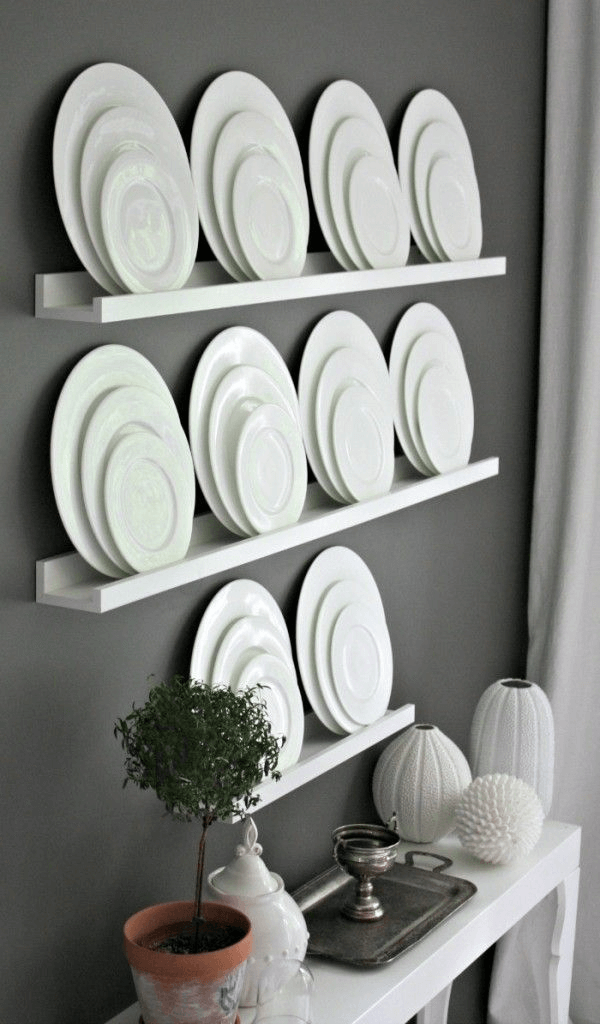 Shelf plate display wall decor contemporary style dining room