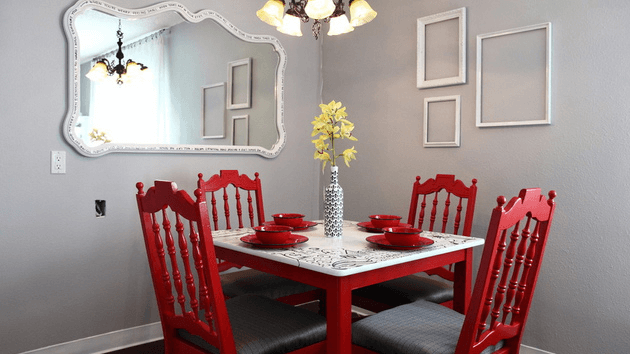 Small dining room wall decor ideas with mirror and picture frame
