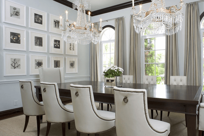 White Color Dining Room Wall Idea