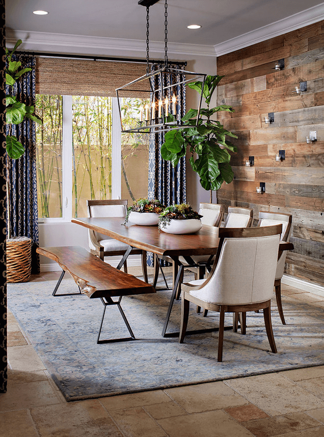 Wood Accent Wall dining room rustic decor