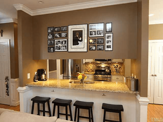 Wood frame wall decor for kitchen dining room