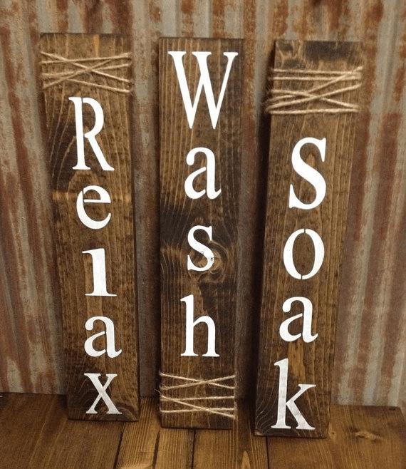 Bathroom sign rustic barn wood decor ideas