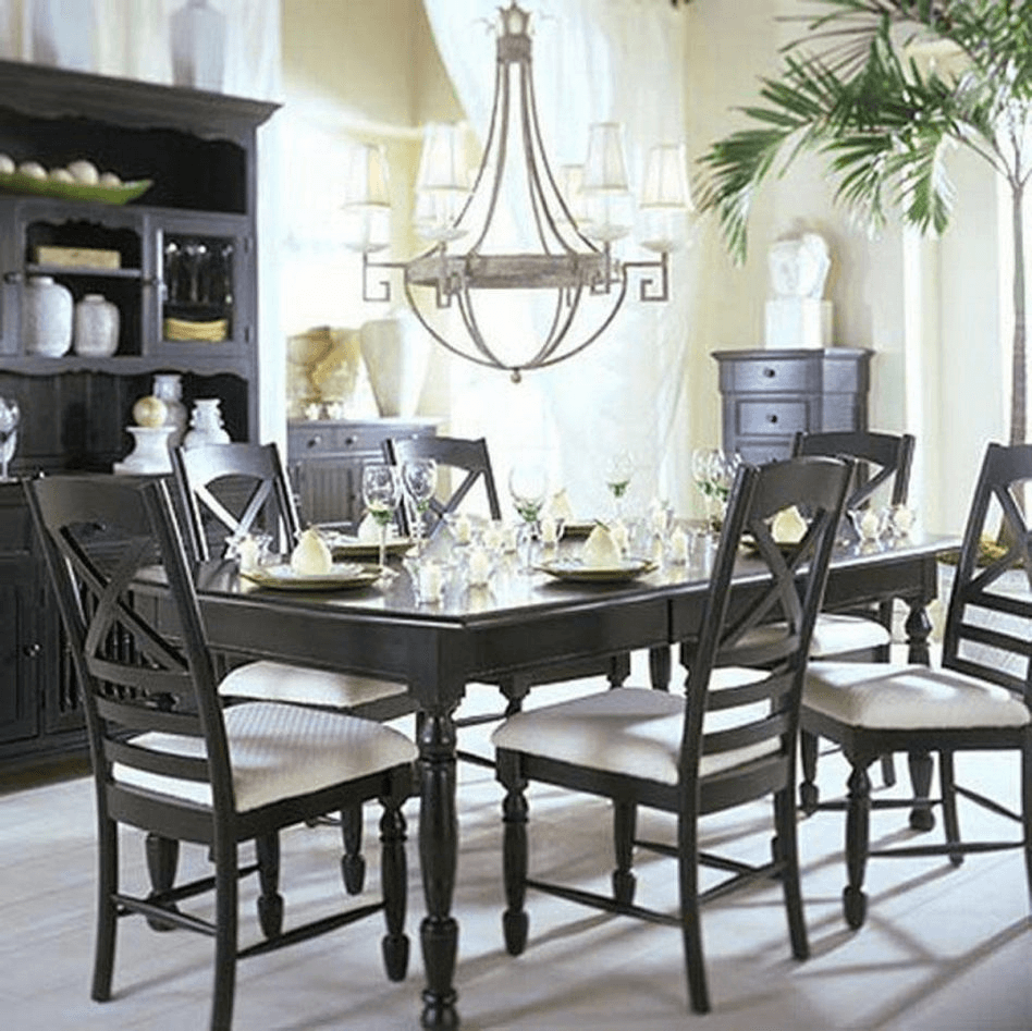 Black and white dining room table decor