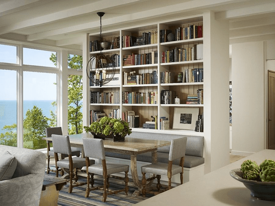 Book Shelves Dining Room Wall Decor Ideas
