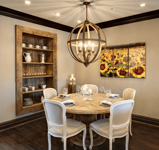 Built-in Shelves Dining Room Wall Traditional Decor