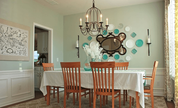 Dining Room Wall Décor with Plates Pops of Turquoise