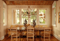 French country style dining table decor with large window