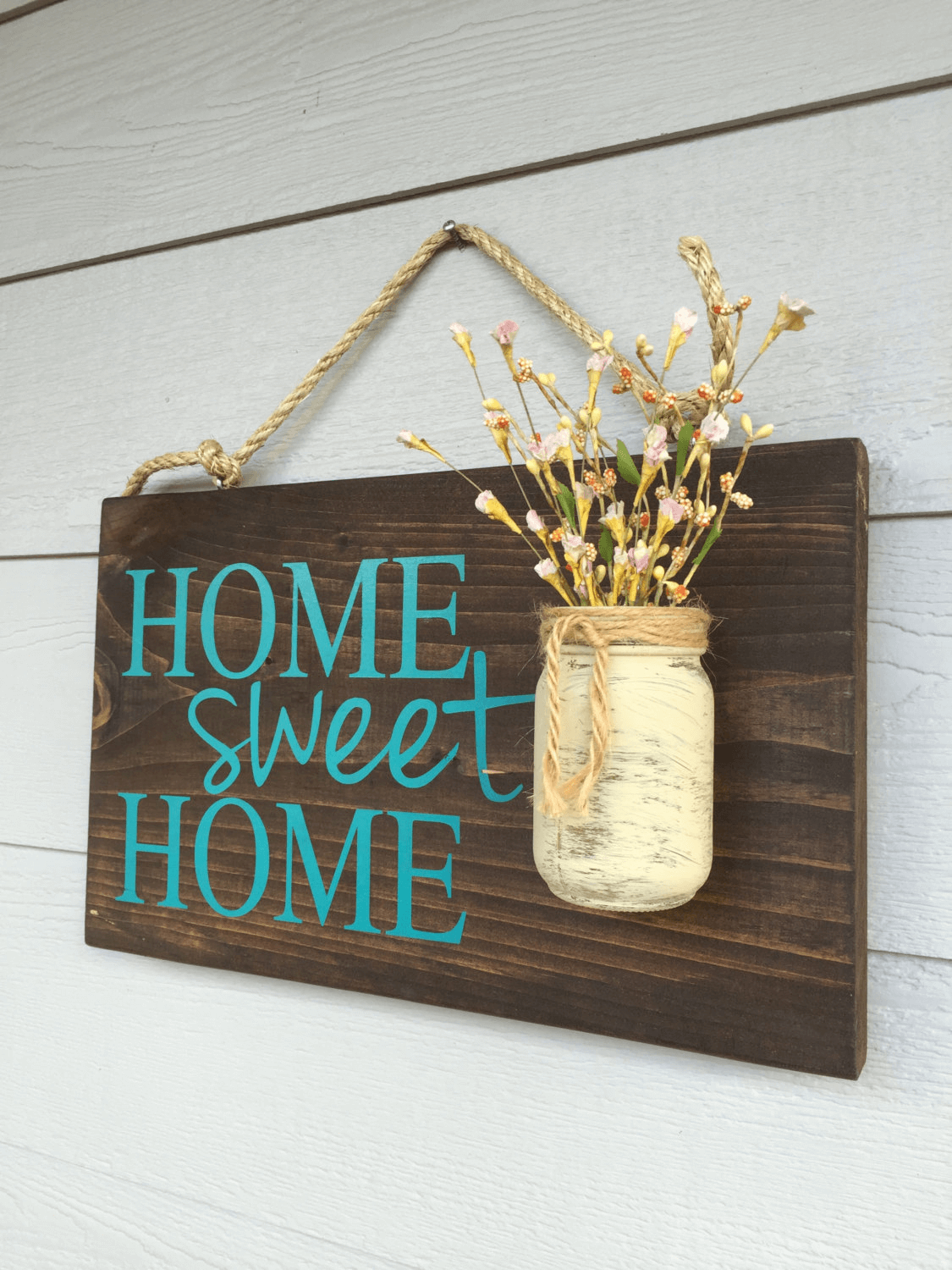 Rustic Home sweet home hanging sign decor ideas