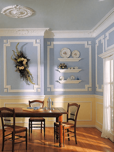 Picture framed wall molding dining room decor ideas