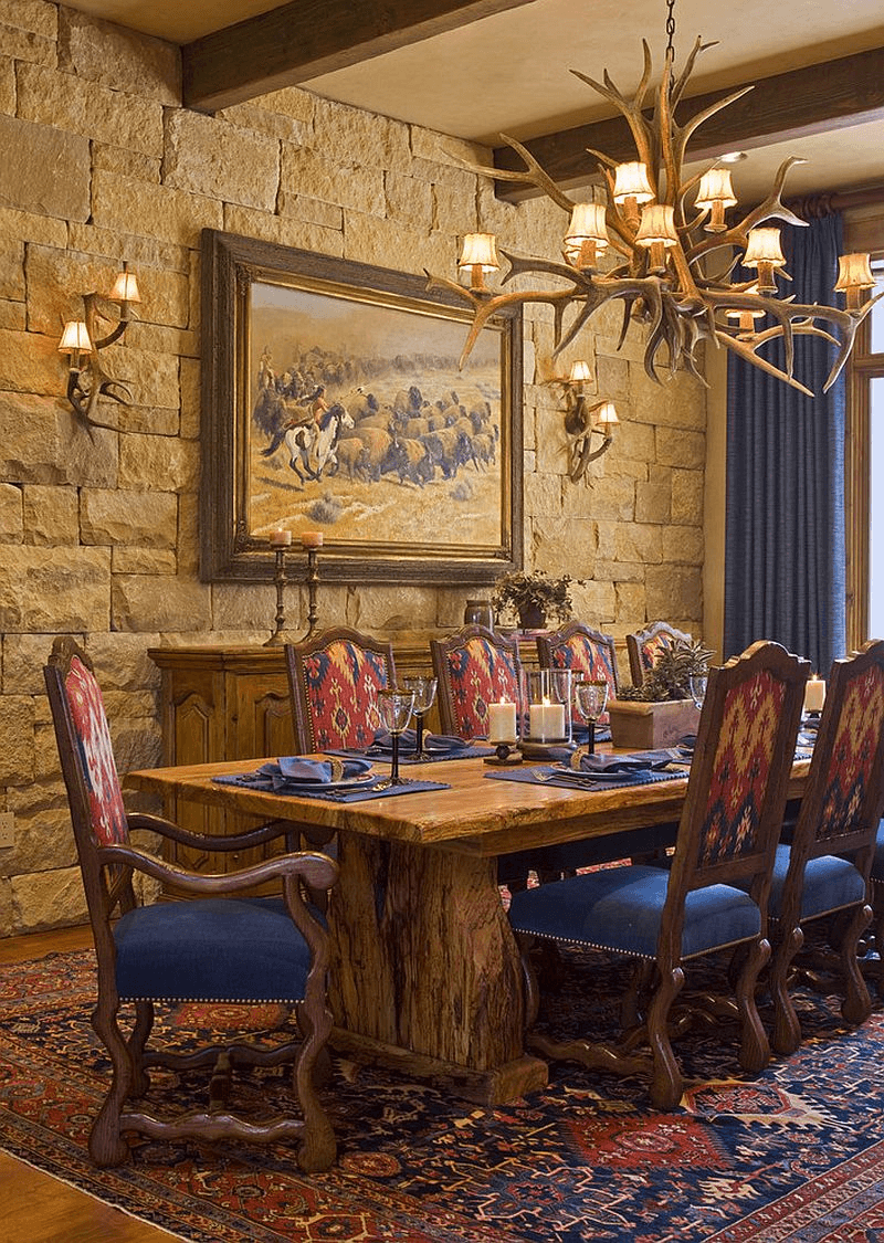 Stone wall rustic Dining Room Wall Lighting Ideas