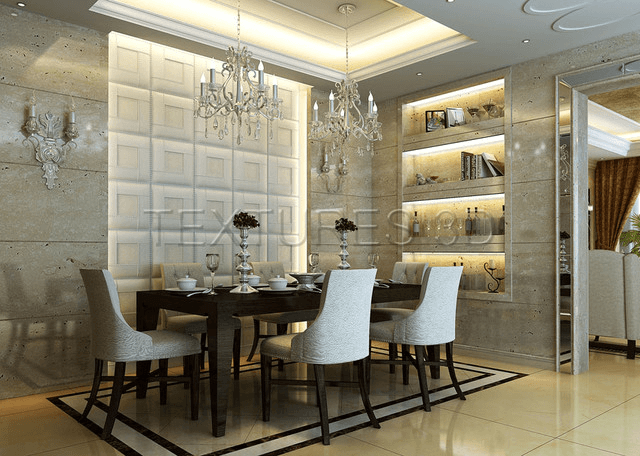 Wall Panel Decal For A Contemporary Dining Room