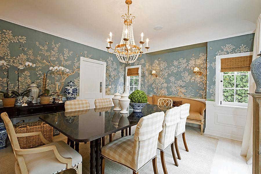 Wallpaper wall tile dining room decor