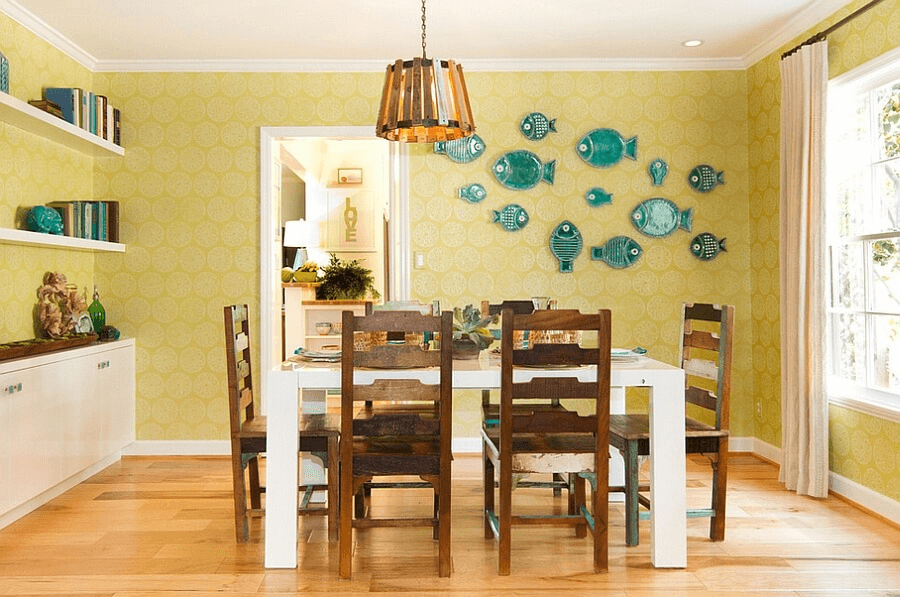 Interesting Idea Dining Room Wall Décor with Plates