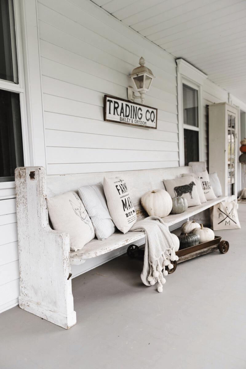 Old Train Station Bench rustic farmhouse porch decor