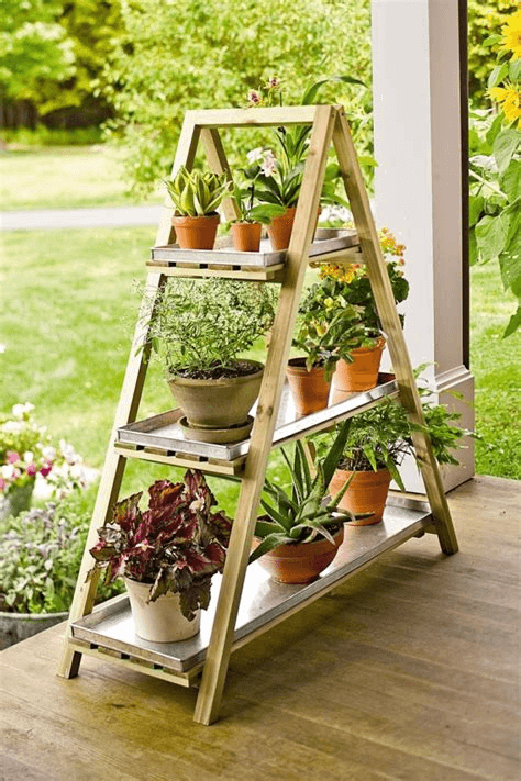 Plant Stand from Old Ladder for Rustic Farmhouse Porch Decor ideas