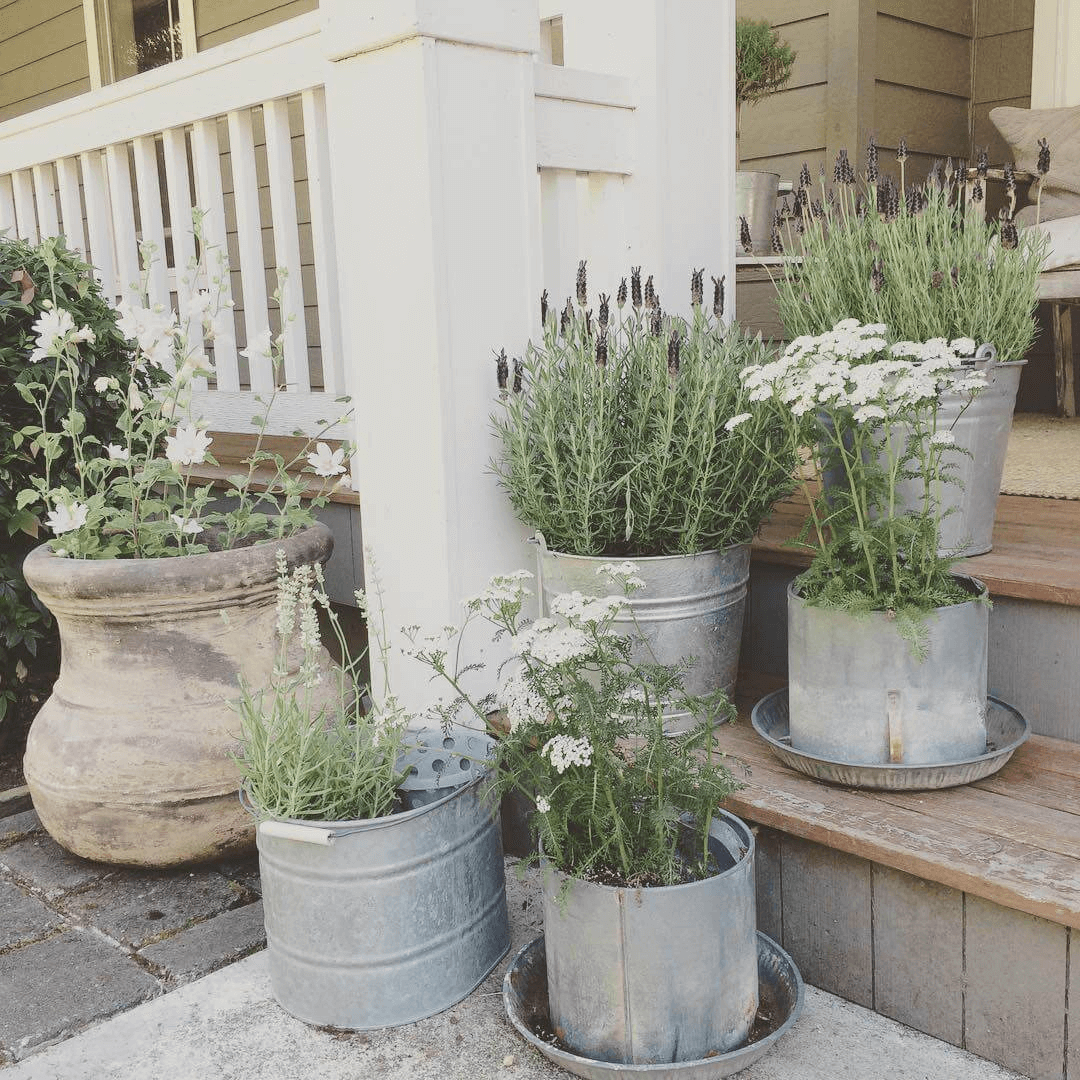 Planters from Old Tin Bucket porch decor