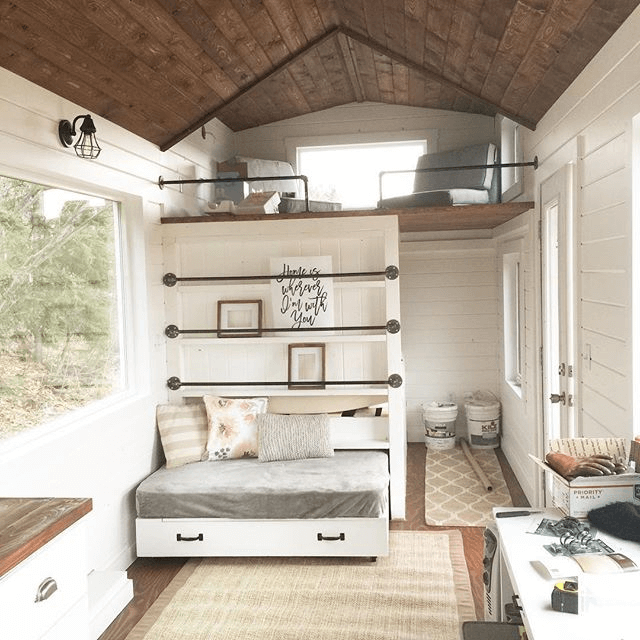 Bed storage tiny house design ideas