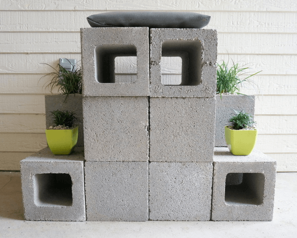 Cinder Block Planters for Front porch decoration ideas