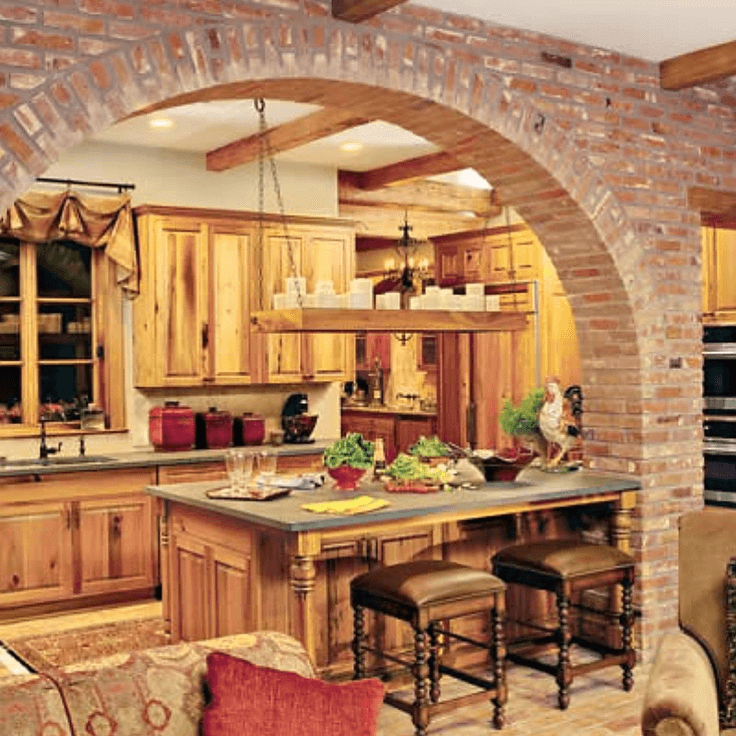 Curved Arch Kitchen Brick Wall Rustic Italian Style