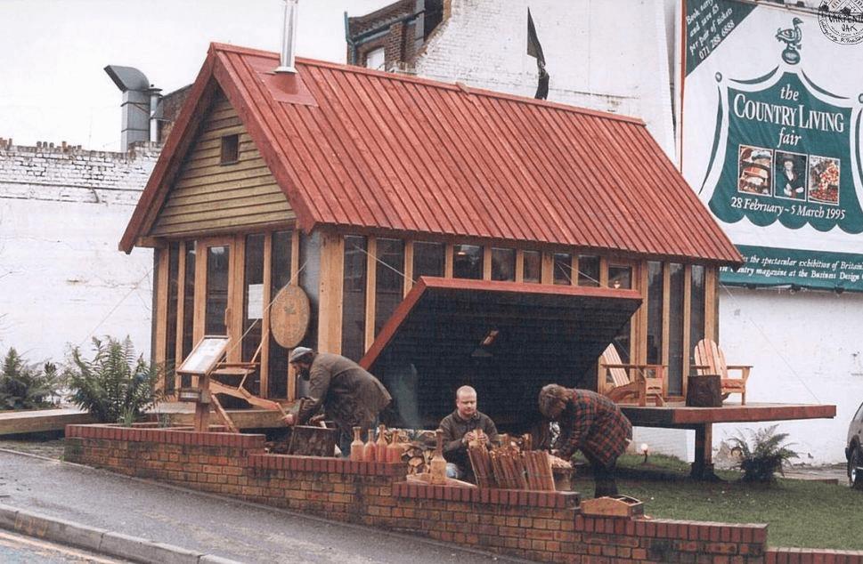 Folding porch tiny house cabin design