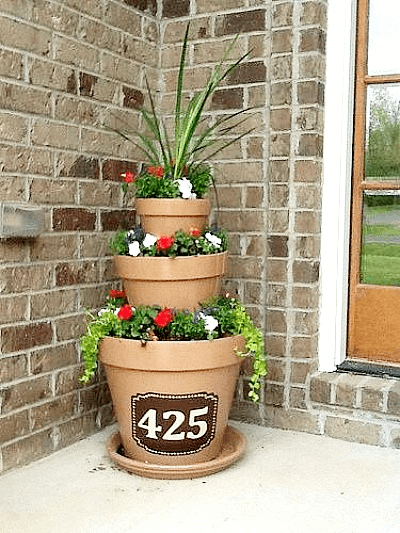 Front Porch Decor ideas with DIY Stacked Flower Pots