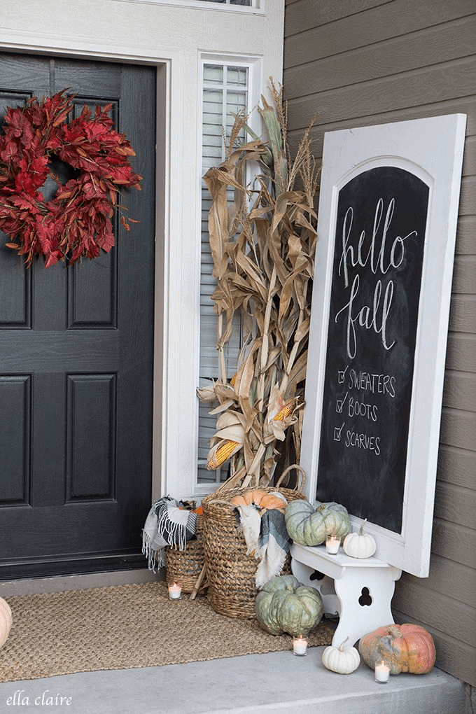 Small front porch decorating for fall