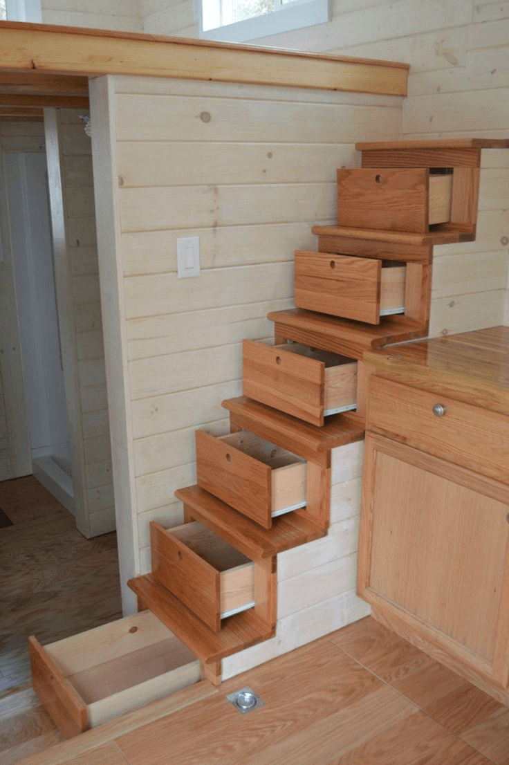 Storage stairs for tiny house