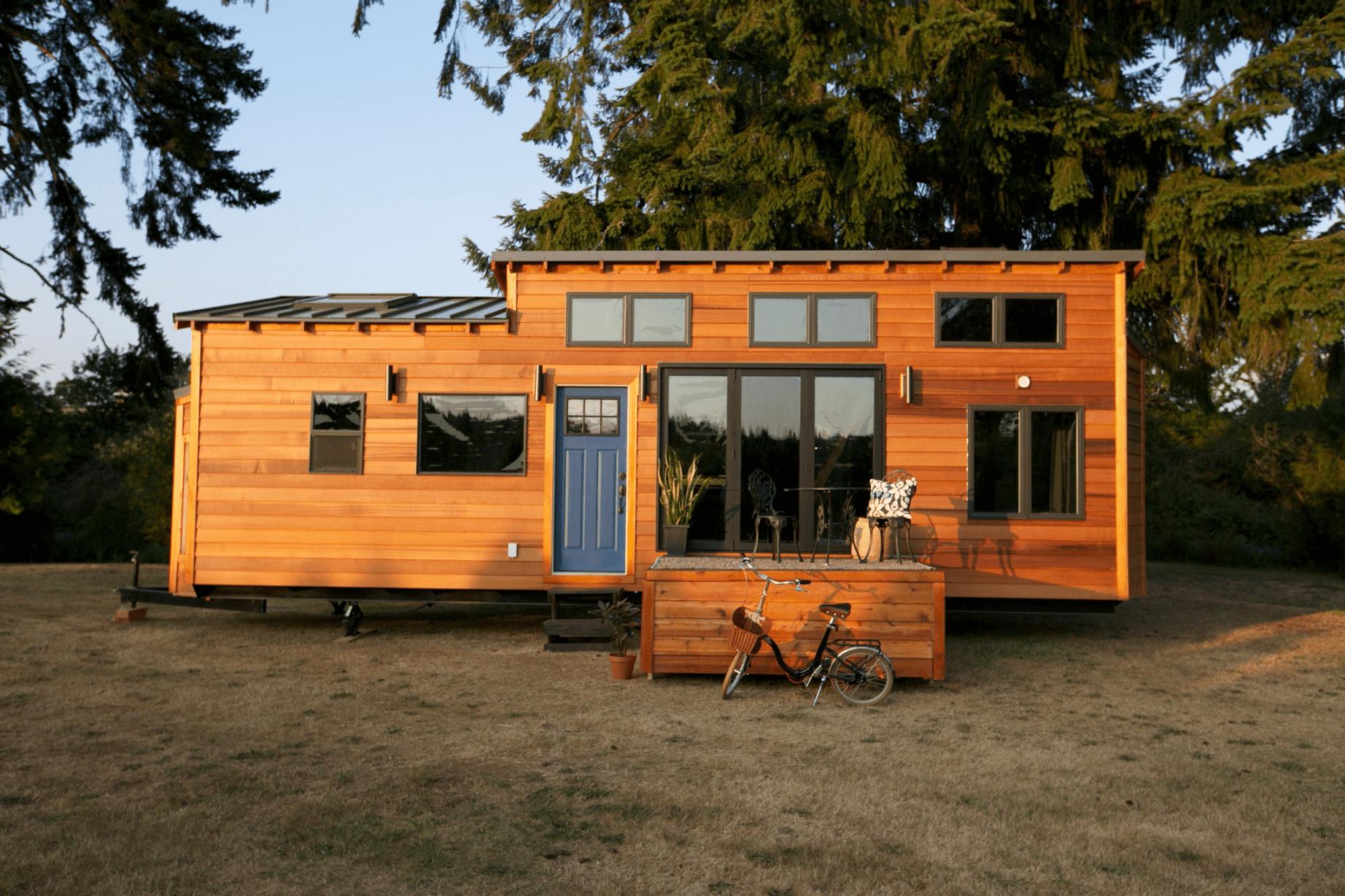 Wooden front porch tiny house exterior design