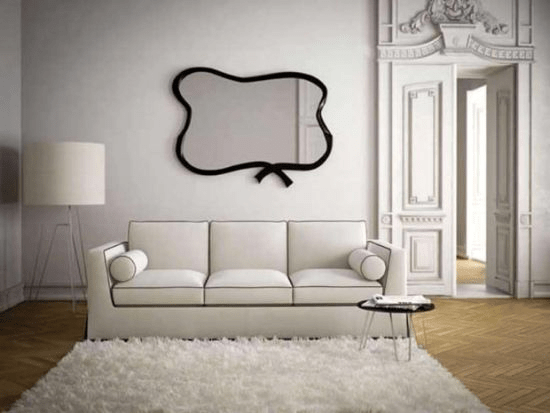 Monochromatic Colors and Mirrors for small living room look bigger