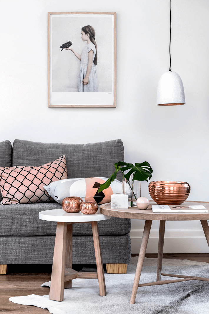 Rose gold living room decor ideas new trend 2018