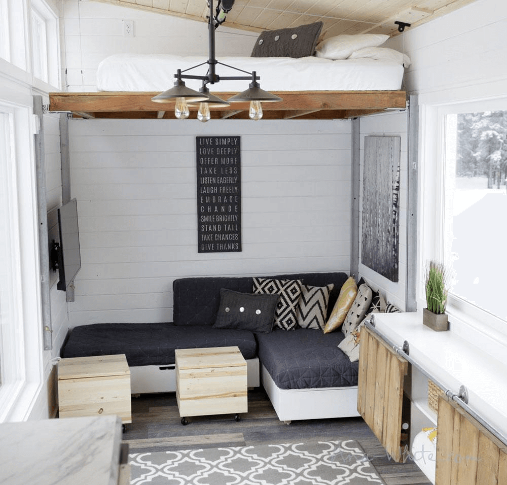 Small House Living Room: Tiny House Elevated Living Room