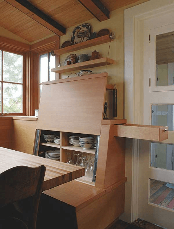 Tiny house hidden storage ideas for living room or dining room small space