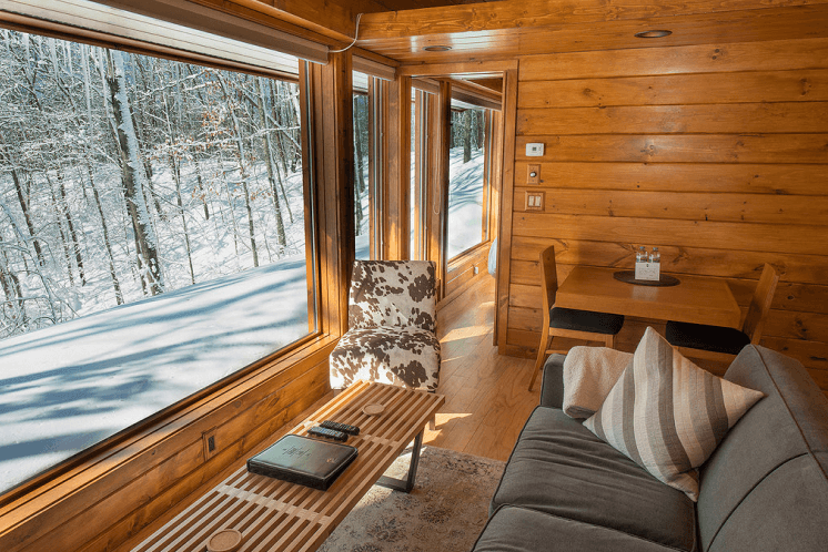 Tiny house window wall design ideas living room