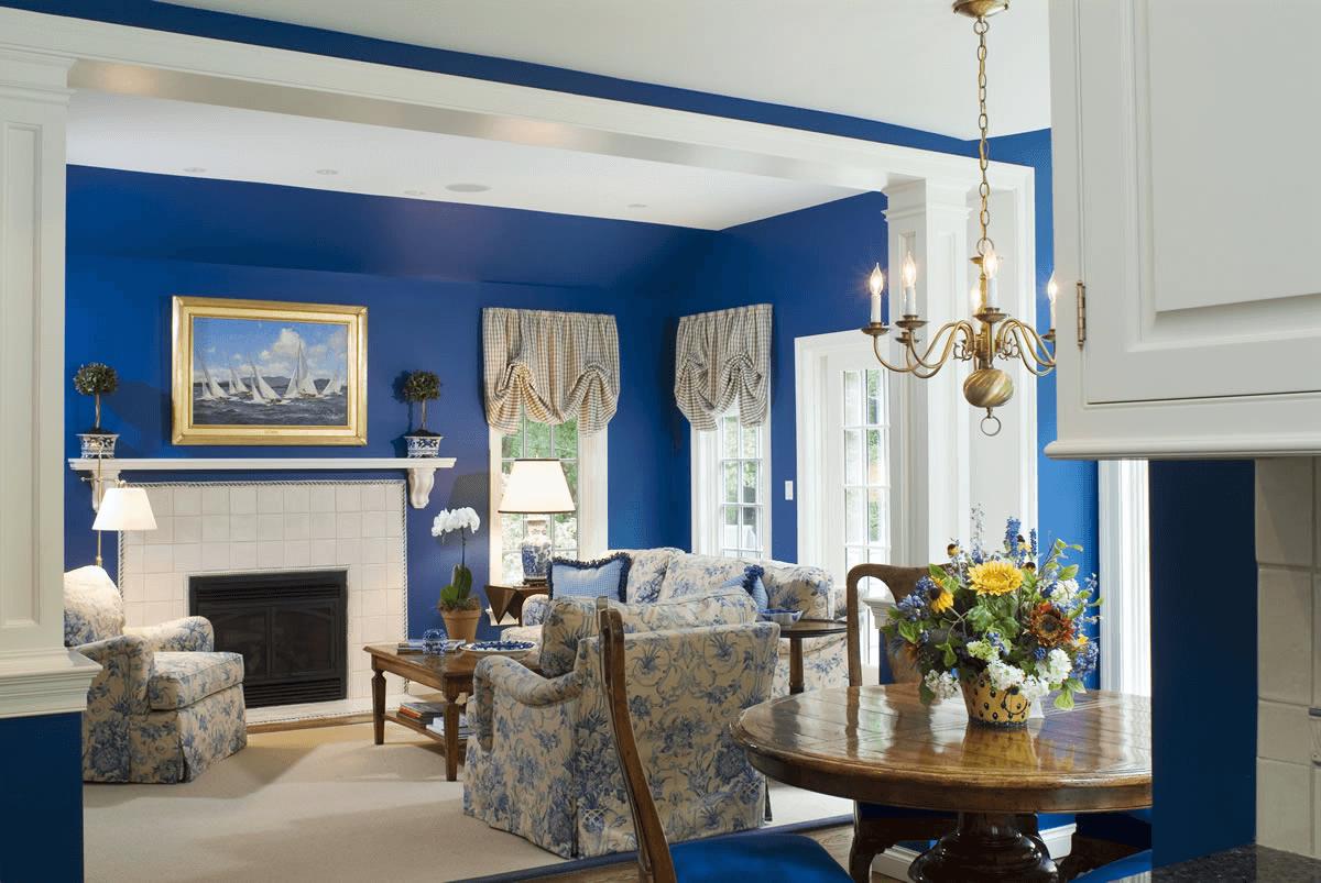 Traditional living room decor ideas blue