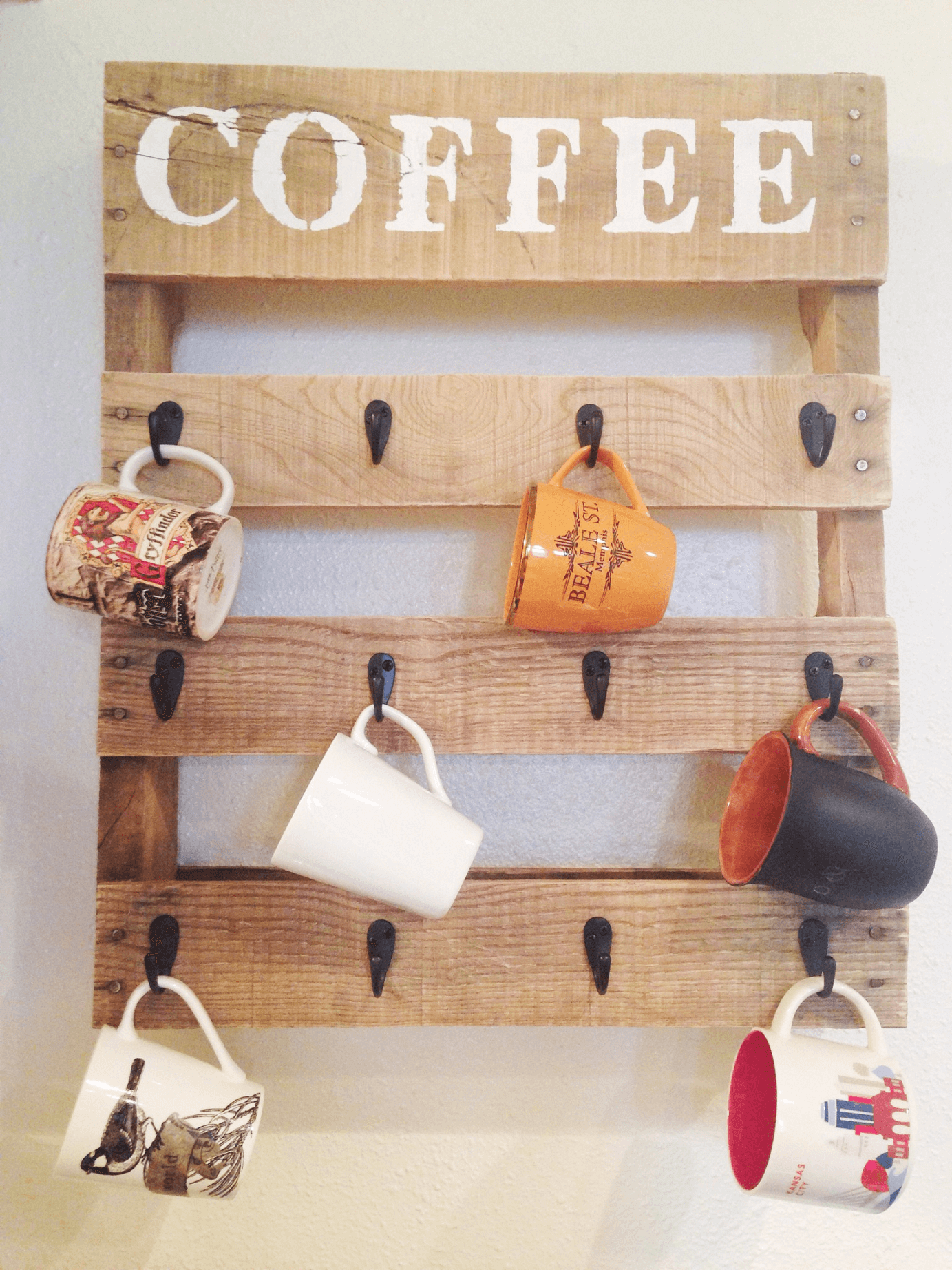 Wood recycled Coffee Cup Holder for wall decor