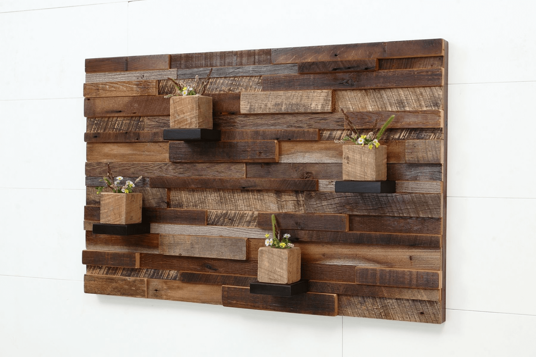 Wood wall art decor ideas with flower pots